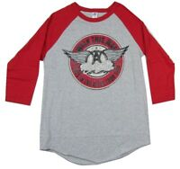 Aerosmith Walk This Way Heather Grey Raglan Jersey Shirt New Official Band Merch