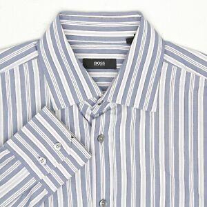Hugo Boss Mens Dress Shirt 15.75/36 Blue White Stripe Button Front Italy