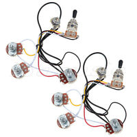 2 sets Guitar Wiring Harness 2 Volume 1 Tone 500K 3 Way Toggle Switch Chrome