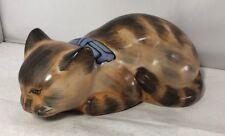Lovely Antique Kutani Pottery Sleeping Cat Figure Japanese