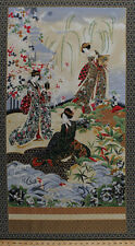 "24"" X 44"" Panel Japanese Women Flowers Nature Floral Asian Cotton Fabric D780.58"