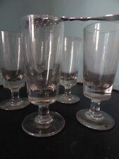 Set of 5 Antique French Absinthe glasses Bistro barware handblown heavy glass