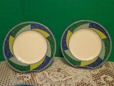 Mikasa Ultima Plus HK230 (2) Salad Plates Blue Green Geometric Print Ceramic