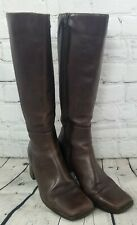 Joan David Made In Italy Brown Leather Knee High Square Toe Women's Boot Size 8