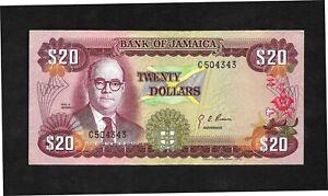 Jamaica p-63, AUNC, 20 Dollars, 1960 (1976)