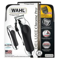 Wahl Deluxe Chrome Pro Complete 25 Piece Men's Haircut Kit W/ Finishing Trimmer