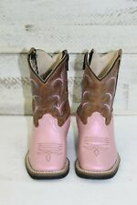 Old West Infant/Toddler Boots-Pearl Pink Square Toe, Style BSI 1820