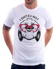 Je shitzu pas drôle Chien T-shirt en coton imprimé blanc 9638