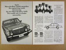 1975 Mercedes-Benz 300D 300-D 5-cylinder Diesel car photo vintage print Ad