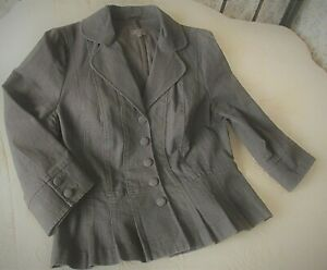 Mid brown cotton mix denim like jacket by PER UNA Size 14 Subtle stripe