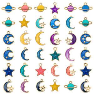 10Pcs Cute Moon Star Planet Enamel Pendants Charm DIY Bracelet Earring Making