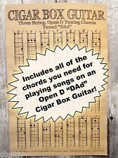 "Cigar Box Guitar Chords Poster - 3-string Open D ""DAD"" + Blues Scale Diagram!"
