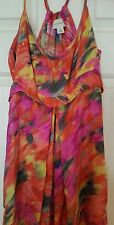 WITCHERY Maxi Flowy Nina Proudman Style Evening Silk Dress Pink Orange Size 6