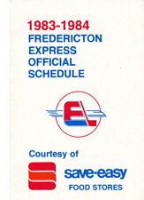 1983-84 FREDERICTON EXPRESS HOCKEY POCKET SCHEDULE