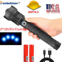 200000LM xhp70 led flashlight rechargeable Zoomable torch 18650 26650 Camping