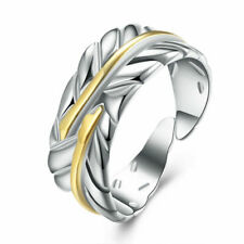 925  Sterling Silver Feather/Leaf Ring Adjustable + Gold Band Finger Thumb
