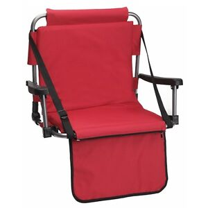 Red Stadium Chair Bleacher Seating Shoulder Strap Padded Foldable
