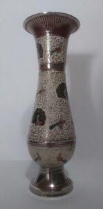 Home decor - Metal Asian vase w/ silver background, peacocks & red ribbing trim