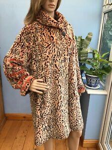 Edina Ronay Brown Animal Print Faux Fur Jacket Coat Size 18