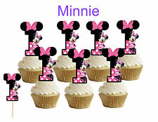 1st birthday Minnie Mouse Cupcake toppers,cakepop toppers,cupcake decors