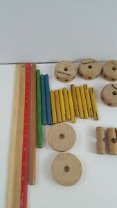 Tinkertoy 25 Replacement Parts Wooden Pieces Natural Spools Rods Connectors