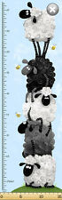 Susybee's Lewe Growth Chart stack sheep 100% cotton fabric by the panel 15""