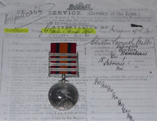 QSA MEDAL 4 CLASPS TO 3rd DRAGOON GUARDS + Papers & Roll