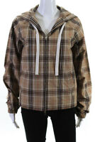 Pringle of Scotland Womens Full Zip Hooded Plaid Jacket Beige Cotton Size 2