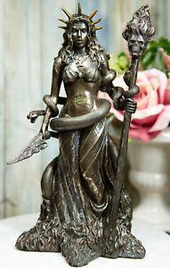 Ebros Greek Goddess Underworld Hecate Holding Fire Skull Staff Statue Figurine