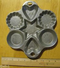 """CAST ALUMINUM MOLD 7 SHAPES STAR HEART CIRCLE AND MINI PIE MEASURES 7-1/2"""" x 9"""""""