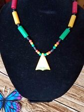 New Plastic Green,Red and Yellow Rasta Bead with African Map lightly Drawn