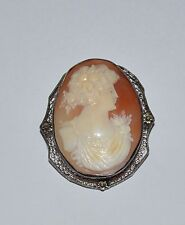 VINTAGE ANTIQUE STERLING SILVER AND CARVED SHELL CAMEO LARGE PIN BROOCH