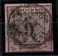 T4297/ GERMANY – WURTEMBERG – MI # 4b USED SIGNED THOMA BPP – CV 150 $
