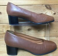 Ladies Clarks Heeled Brown Leather Court Shoes Smart Work UK 7