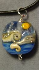 beach necklace blue sterling silver dichroic glass #1017
