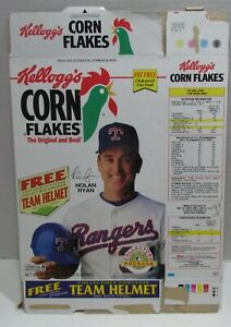 Kellogg's Corn Flakes Cereal Box w/ Nolan Ryan & Team Helmets Offer, 1991