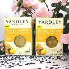 2 x Yardley London Honey Lemon Scrub Massage Soap, 4 Bars Exfoliate Revitalize