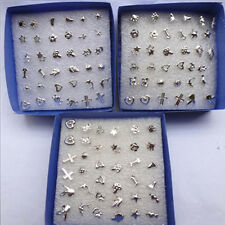 Wholesale lots Bulk 24 Pairs Unisex Mix Style Silver Plated Stud Earrings CHARM