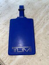 New TUMI 'Alpha' Blue / Silver Leather Luggage Tag