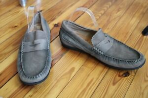 Ecco 46 12-12.5 Wide Gray Brown Nubuck Leather Classic Moc Penny Loafers