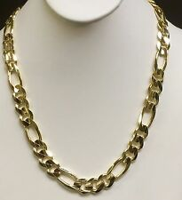 """14k Solid Yellow Gold Italian Figaro Curb Link men's necklace 30"""" 12 MM 155 grms"""