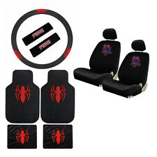 New Spiderman Spider Man Car Seat Covers Floor Mats Steering Wheel Cover