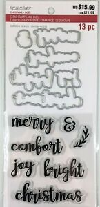 Recollections Christmas Words Clear Stamp Die Set Holiday Greetings Phrases