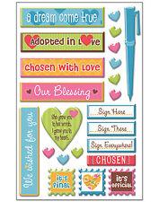 WE'RE ADOPTING! 3-D Epoxy (23PC) Sticker Sheet scrapbooking