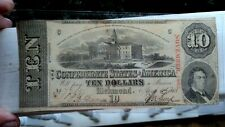 1863 CONFEDERATE STATE OF AMERICA $10 RICHMOND VIRGINIA NOTE 2ND SERIES HTF NICE