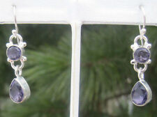 Stunning Sterling Silver Plated Earrings with Amethyst-Color Quartz Stones