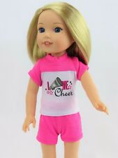 "Hot Pink Love Cheer Shorts Set Fits Wellie Wishers 14.5"" American Girl Clothes"