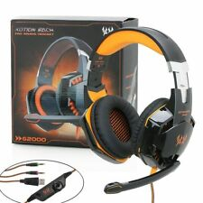 3.5mm Orange Gaming Headset LED Headphones Surround for PC Laptop PS4 Xbox One