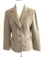 Talbots Womens Blazer Herringbone Size 10 Petites Wool Button Vneck Suits Brown
