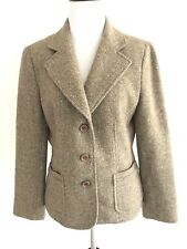 Talbots Womens Blazer Herringbone Size 10 Petites Wool Button Vneck Suits Brown